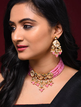 Pink Gold Tone Kundan Beaded Necklace with Earrings (Set of 2)