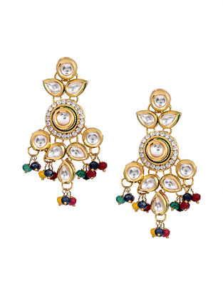 Multicolored Gold Tone Kundan Earrings