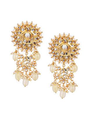White Gold Tone Kundan Beaded Earrings