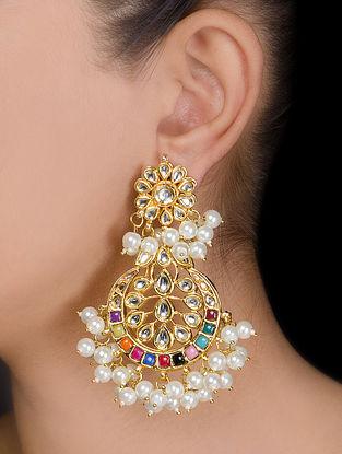 Floral Half-moon Kundan Earrings