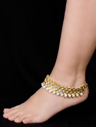 Golden-Ivory Kundan Anklets - Set of 2