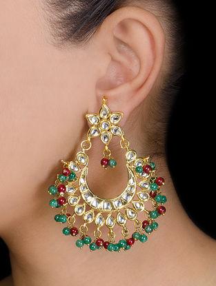 Floral Half-moon Ruby-Emerald Earrings