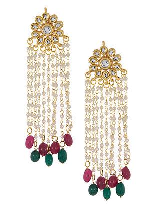 Pink - Green Floral Jadau Earrings by Imli Street