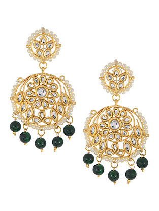 Green - Ivory Floral Jadau Earrings by Imli Street