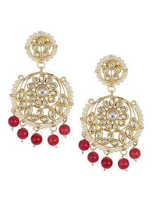 Red - Ivory Floral Jadau Earrings by Imli Street