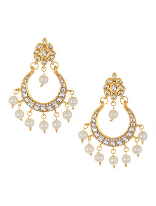 Golden - Ivory Half-Moon Jadau Earrings by Imli Street