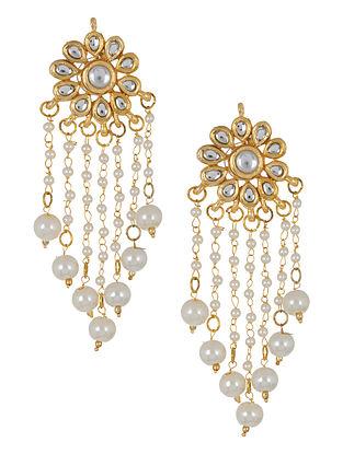 Golden - Ivory Floral Jadau Earrings by Imli Street