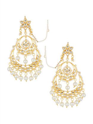 Classic Kundan-inspired Gold Tone Earrings with Pearls
