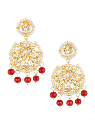 Classic Red Kundan-inspired Gold Tone Earrings