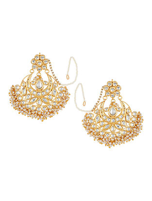 Kundan-inspired Gold Tone Earrings with Floral Motif