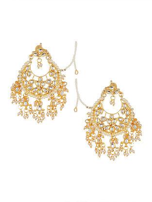 Classic Kundan-inspired Gold Tone Earrings