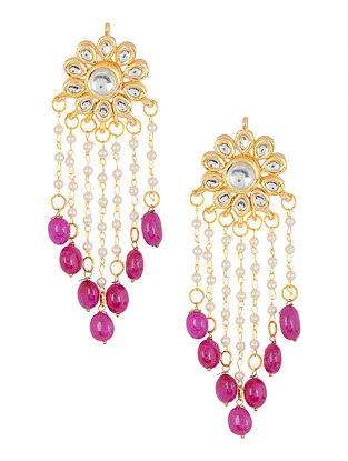 Pink Kundan-inspired Gold Tone Earrings with Floral Design