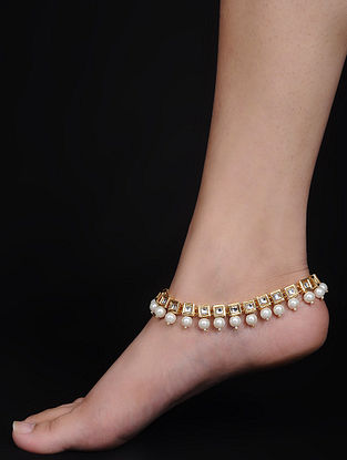 Kundan-inspired Gold Tone Anklets (Set of 2)
