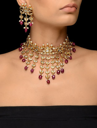 Pink Kundan-inspired Gold Tone Necklace with a Pair of Earrings (Set of 2)
