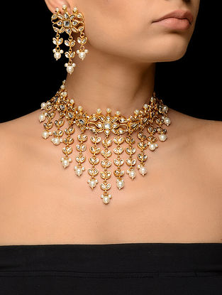 Classic Kundan-inspired Gold Tone Necklace with a Pair of Earrings (Set of 2)