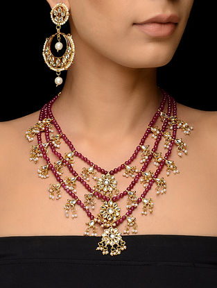 Red Kundan-inspired Gold Tone Necklace with a Pair of Earrings (Set of 2)