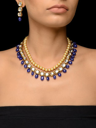 Blue Kundan-inspired Gold Tone Necklace with a Pair of Earrings (Set of 2)