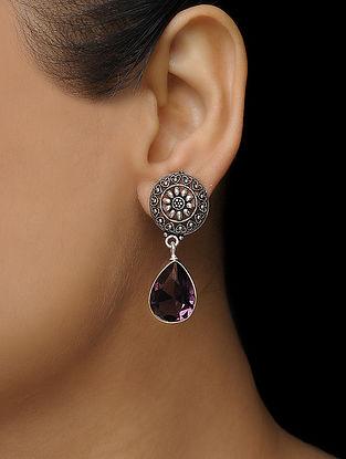 Purple Earrings with Floral Motif