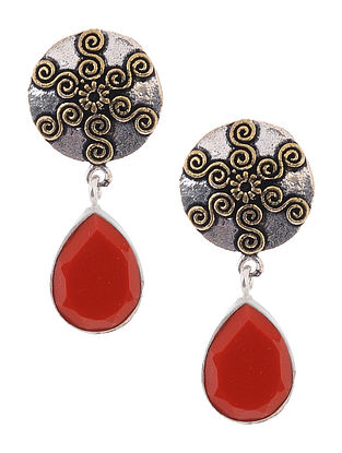 Red Dual Tone Earrings