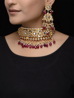 Red Beaded Kundan Inspired Necklace with a Pair of Earrings (Set of 2)