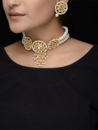 White Beaded Kundan Inspired Necklace with a Pair of Earrings
