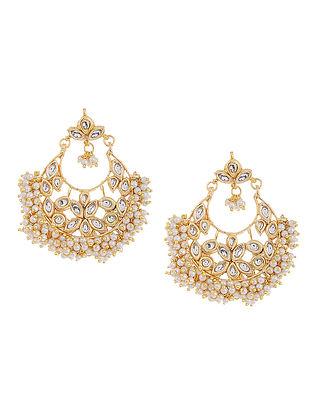 White Beaded Kundan Inspired Earrings