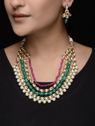 Green-Red Beaded Kundan Inspired Necklace with a Pair of Earrings