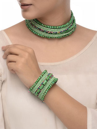 Green-Multicolored Wood Beaded Necklace with Bangle (Set of 2)