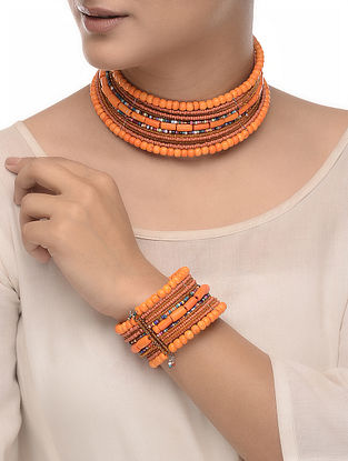 Orange-Multicolored Wood Beaded Necklace with Bangle (Set of 2)