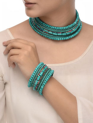 Turquoise-Multicolored Wood Beaded Necklace with Bangle (Set of 2)