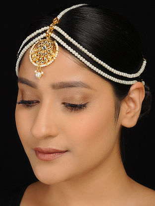 White Gold Tone Kundan-Inspired Pearl Beaded Matha Patti