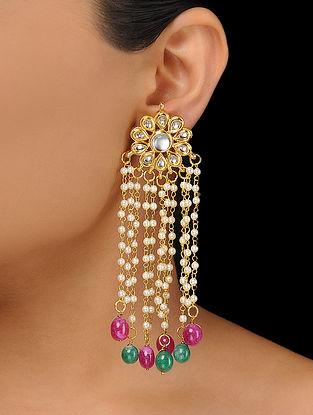 Pink-Green Kundan-Inspired Pearl Beaded Earrings