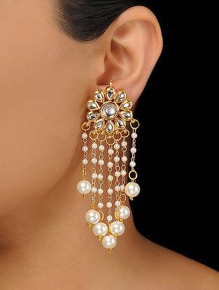 White Kundan-Inspired Pearl Beaded Earrings