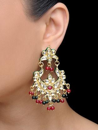 Red-Green Gold Tone Kundan Inspired Earrings