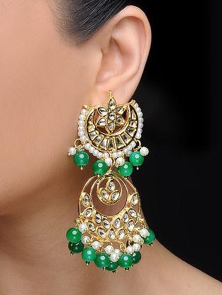 Green Gold Tone Kundan Inspired Pearl Beaded Earrings