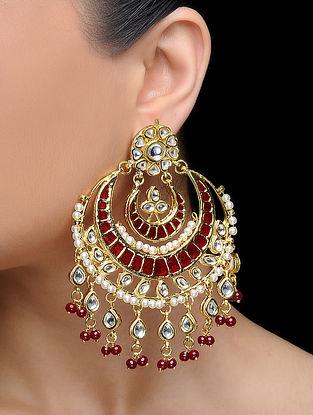 Red Gold Tone Kundan Inspired Pearl Beaded Earrings