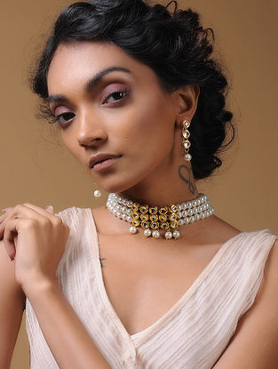 White Kundan-Inspired Pearl Beaded Choker Necklace with a Pair of Earrings (Set of 2)