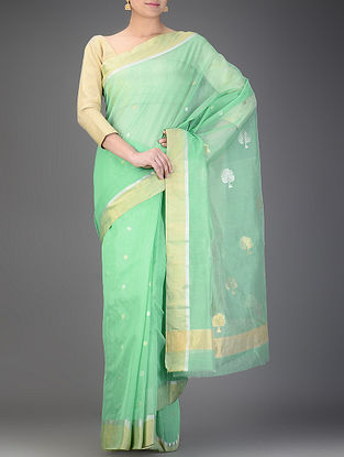 Green Chanderi Saree with Zari Booti