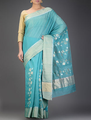 Blue Chanderi Saree with Zari Booti