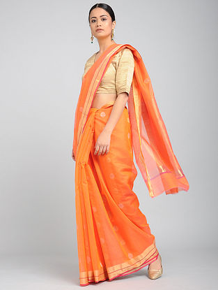 Orange Chanderi Saree with Zari