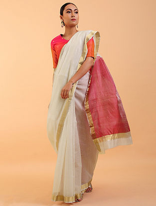 Ivory-Red Chanderi Silk Saree