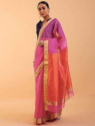Pink-Orange Chanderi Silk Saree