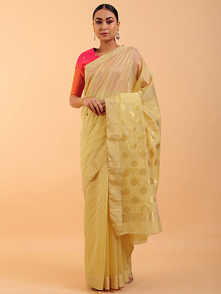 Cream Chanderi Silk Saree
