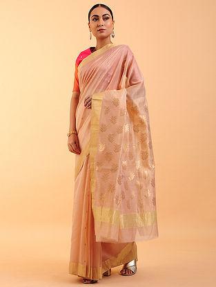 Peach Chanderi Silk Saree
