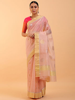 Peach Chanderi Silk Saree