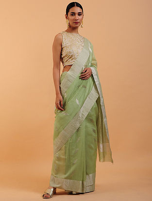 Mint Green Chanderi Silk Saree