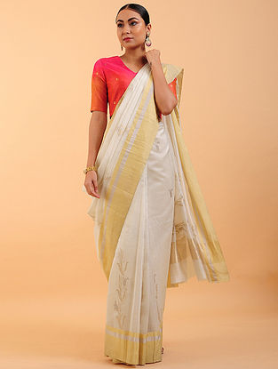 Ivory Chanderi Silk Saree