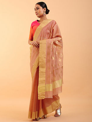 Old Rose Chanderi Silk Saree
