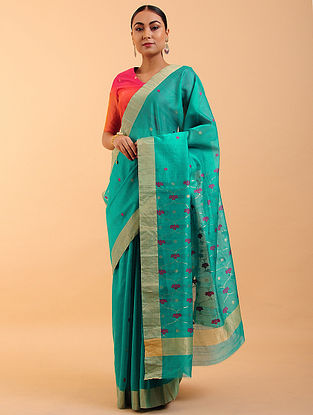 Blue-Pink Chanderi Silk Saree
