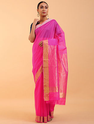 Pink Chanderi Silk Saree